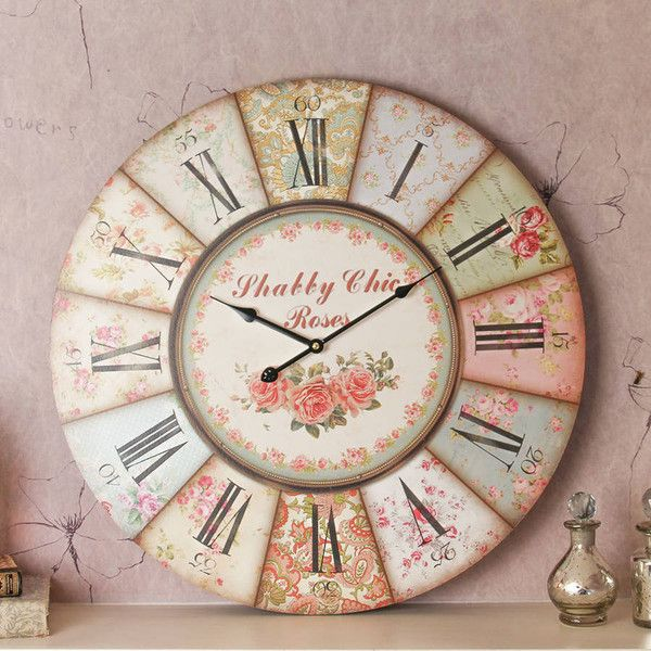 Dibor Large Vintage Floral Wall Clock ($43) ❤ Liked On Polyvore Featuring  Home,