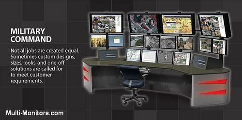 military training and command multi monitor computer desk workstation console display array. Black Bedroom Furniture Sets. Home Design Ideas