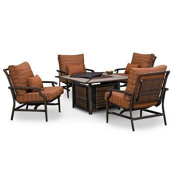 Beau Santa Paula Outdoor Furniture 5 Pc. Seating W/ Fire Pit   Value City  Furniture