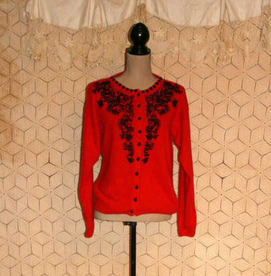 Vintage Beaded Cardigan Sweater 80s Red Cardigan by MagpieandOtis ...
