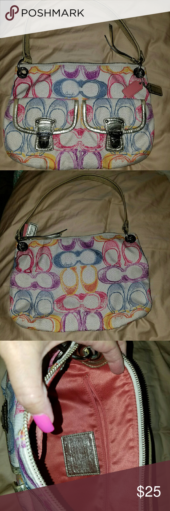Coach Purse Great Condition.   Just a little dirty.  Not sure how to clean.  Addl pic showing dirt.  Not stained...just needs a good cleaning. Coach Bags Hobos