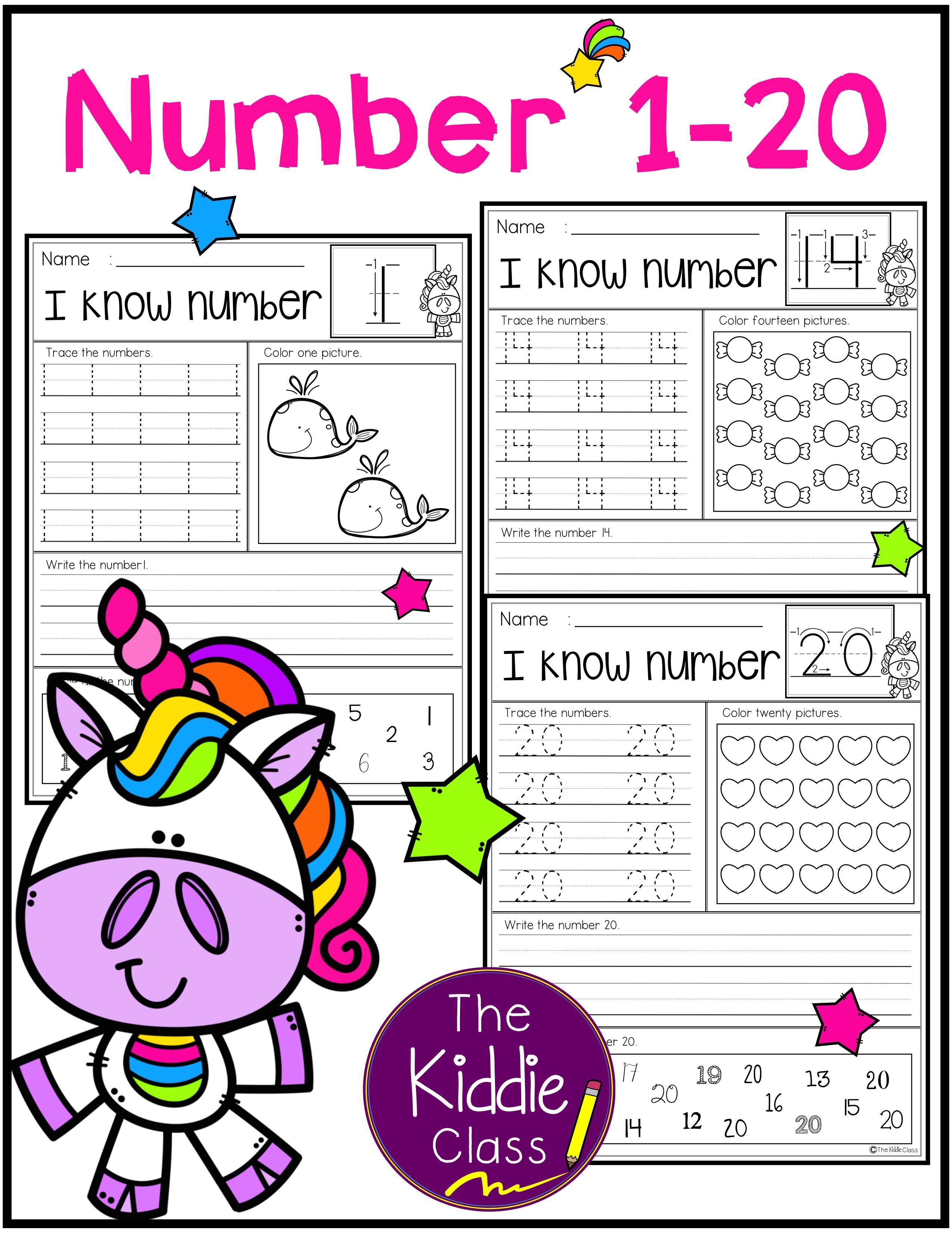 Number Practice Printables 1 20