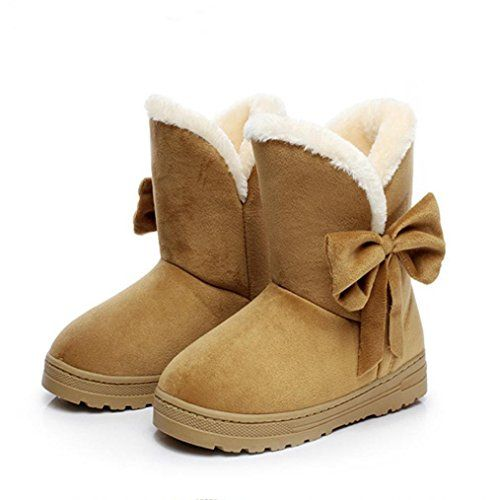 Womens Flat Ankle Boots Warm Fur Winter Snow Boots Shoes Brown 8