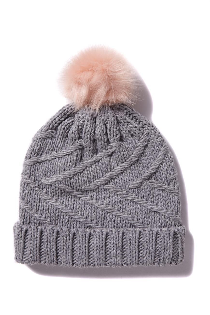 01b9d75cf50 Grey cable knit beanie with pink faux fur pom pom