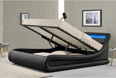 Ottoman Storage Bed Frame With Led Lights Black Double King