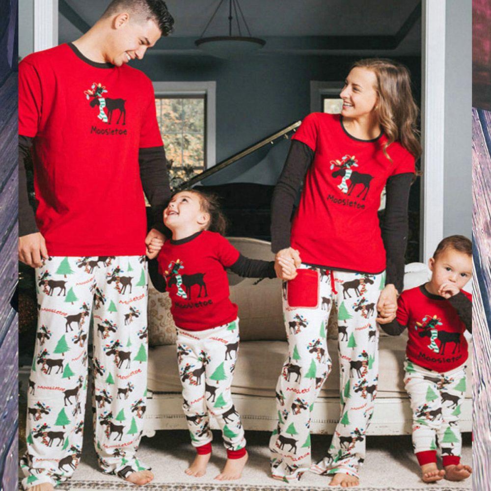 Family Matching Christmas Elk Printed Pajamas Two Pieces - PajamasBuy b2cc82b82