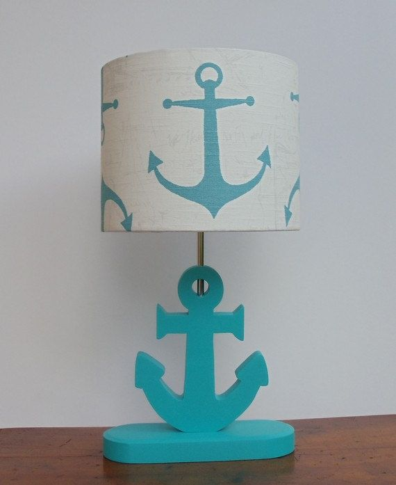 Handmade Medium Aqua Anchor Nautical Theme Drum By Perrelledesigns