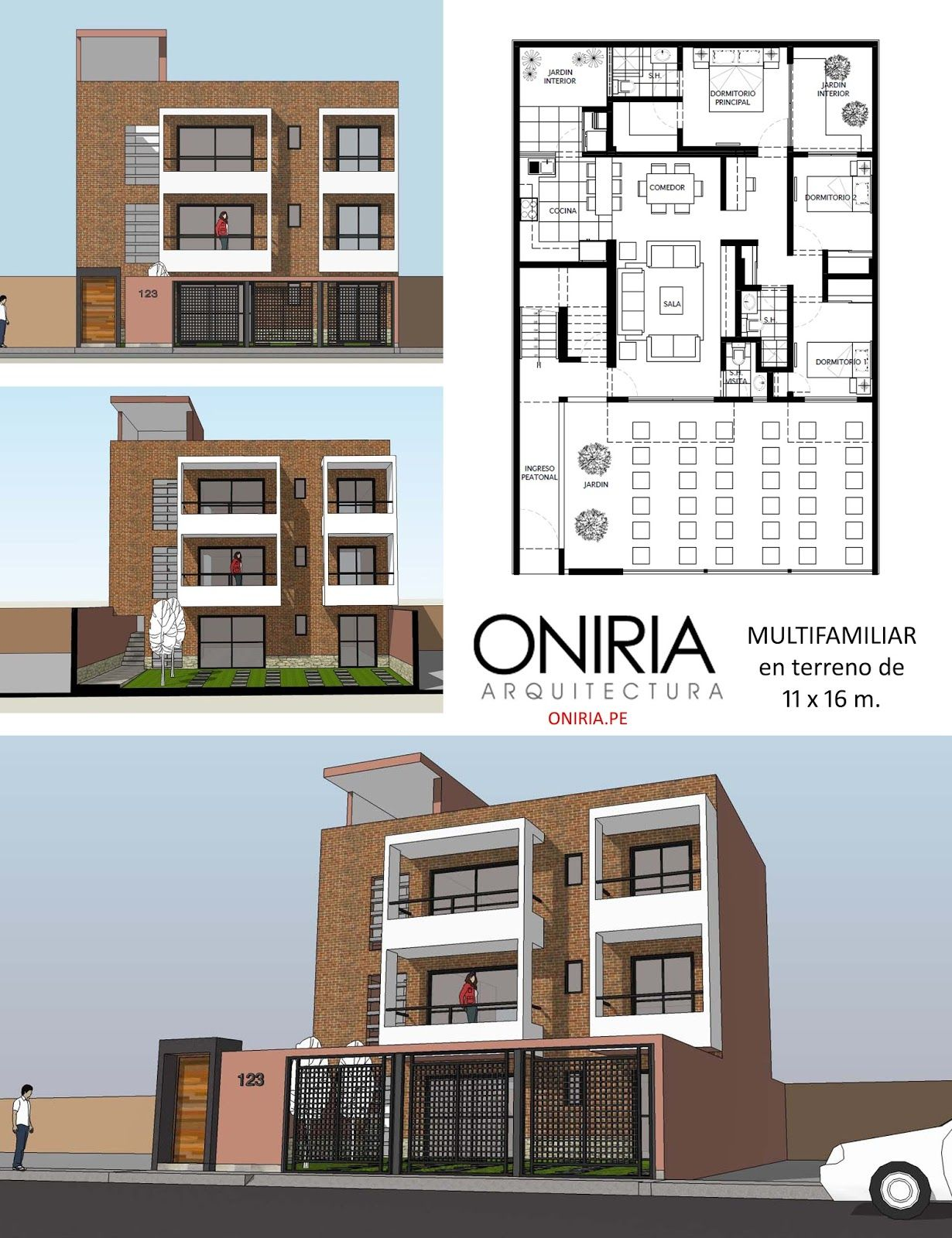 Vivienda multifamiliar de tres pisos en terreno de 11 x 16 for Viviendas minimalistas