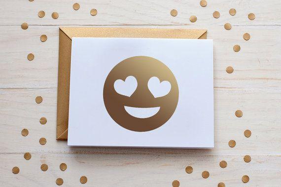 heart eye emoji gold foil card gold foil  blank card