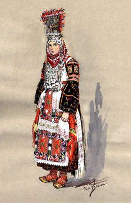 Bride of Kumanovo, Macedonia, circa 1930-1937 :: Blanche Payne Regional Costume Photograph and Drawing Collection