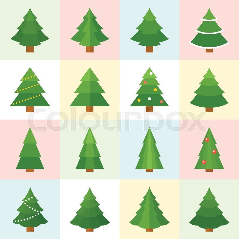 Christmas Tree Vector Collection Vector Christmas Decorations Collection