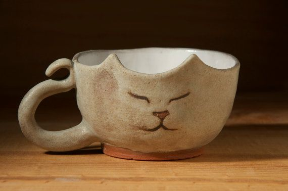 Items similar to Custom Order: cat teacup, cat mug, cat soup bowl on Etsy