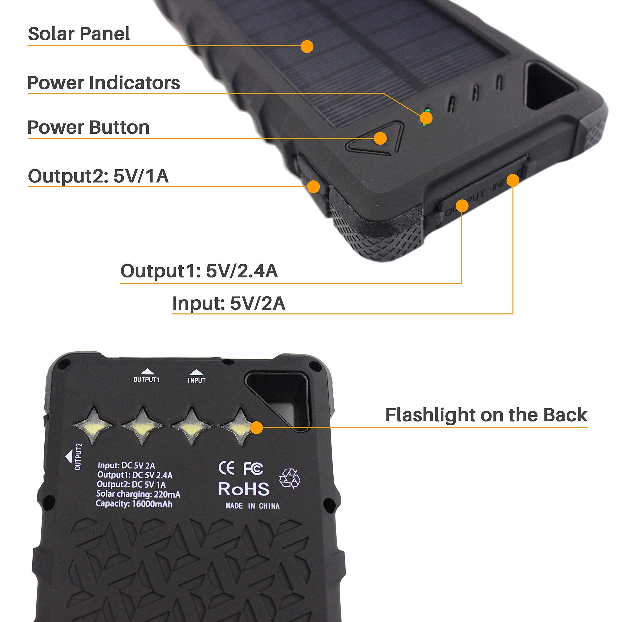 Solar Charger Sunlit Portable Power Bank With Flashlight All Weather Condition Shockproof Dustproof Portable Power Bank Solar Charger Portable Solar Charger