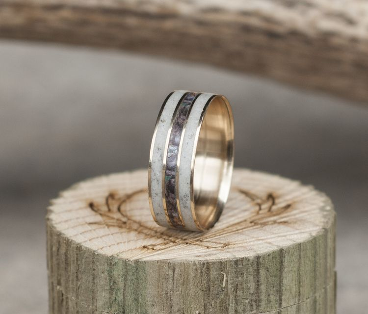 14K YELLOW GOLD CAMO WEDDING RING WITH ELK ANTLER available in 14K