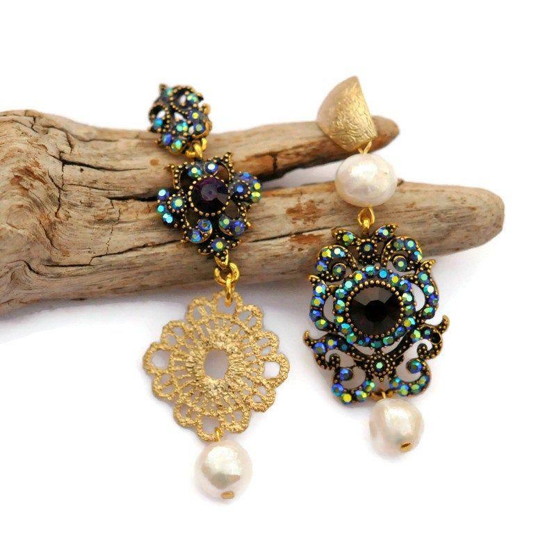 Mismatched blue iolite tassel earrings Asymmetrical earrings Bridesmaids rhinestone Earrings