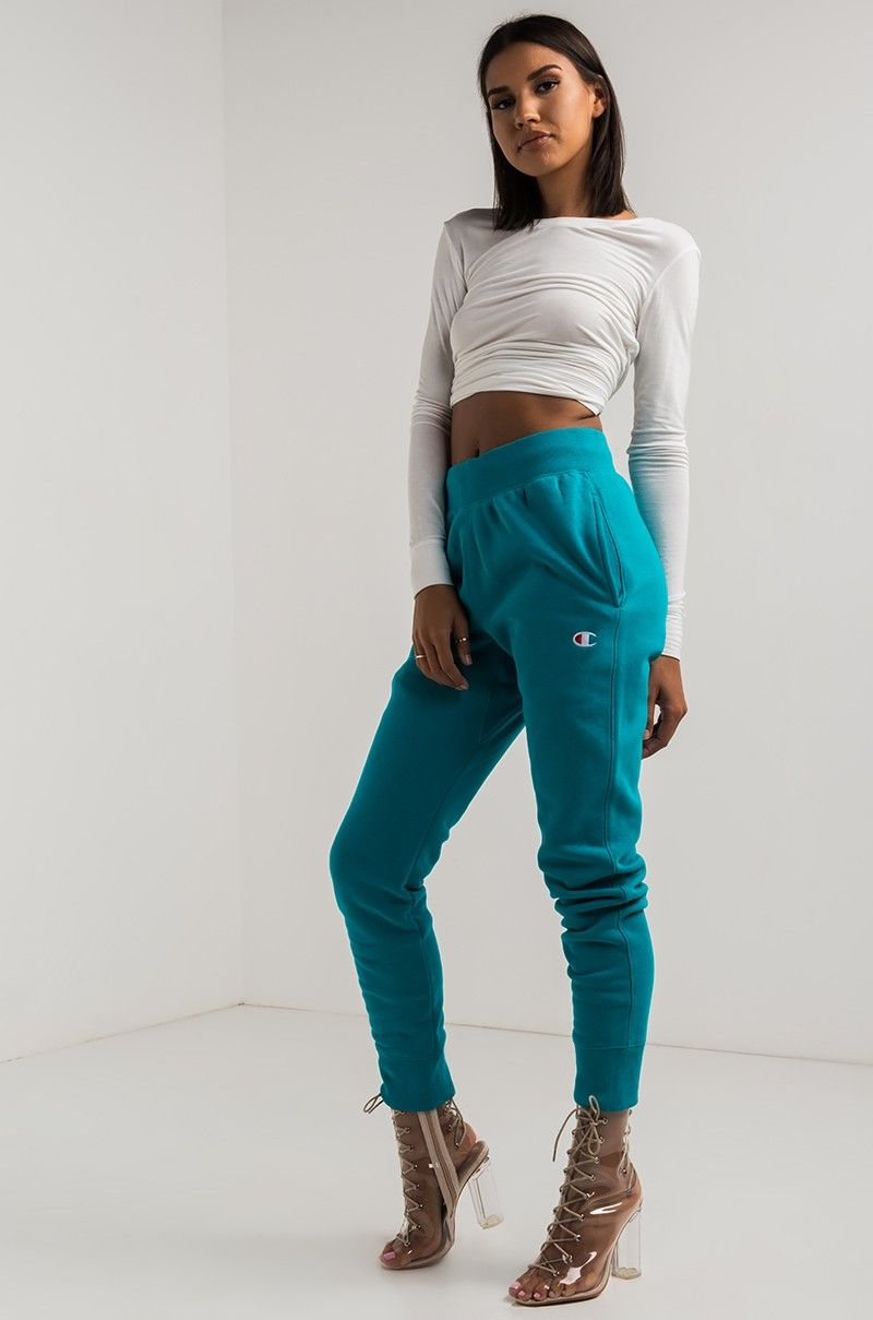 e512ee28b240 Side View Champion Womens Reverse Weave Jogger in Teal