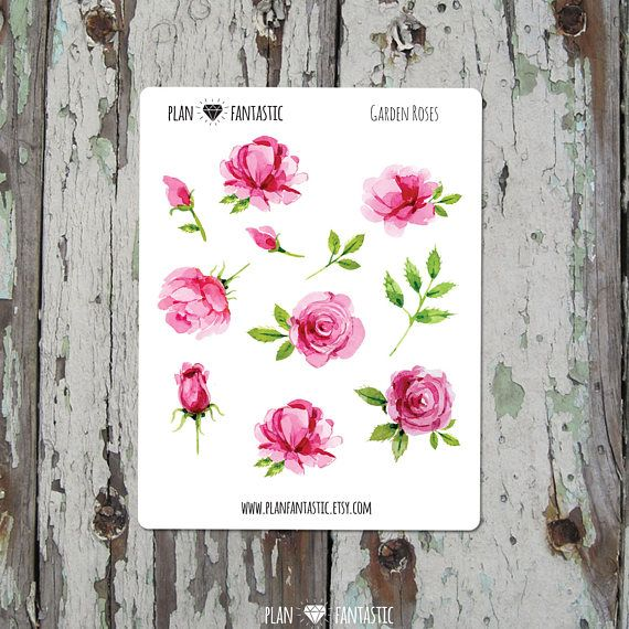 Watercolor Rose Bullet Journal Stickers Deco Planner Stickers