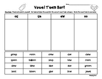 OO, UE, EW and OU Vowel Team Sorting Worksheet | 4 Little Baers