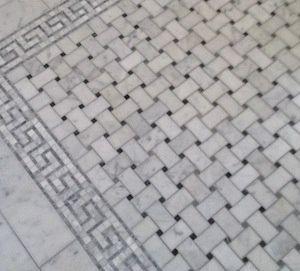 Basketweave Marble Bath Floor Tiles With Greek Key Border By Sherrie