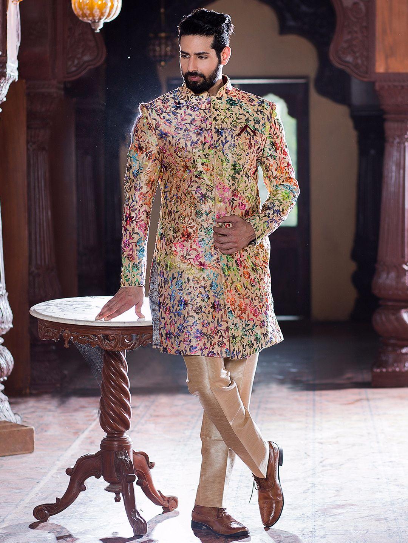 Cream Silk Wedding Wear Indo Western | Sherwani | Pinterest ...