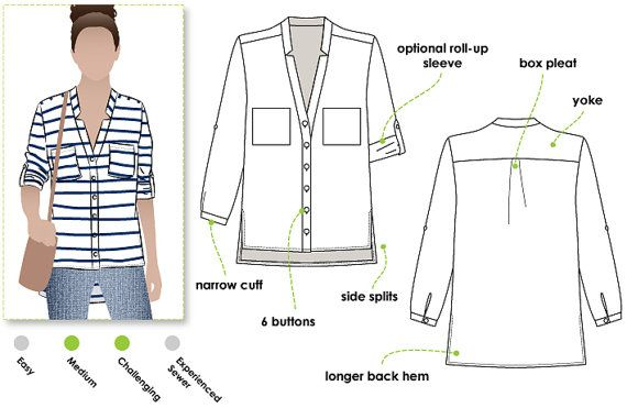Elsie Woven Overshirt - Sizes 22, 24, 26 - Women\'s Sewing Pattern ...