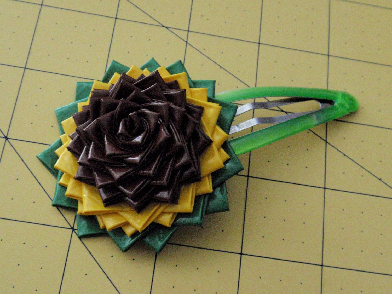 Flower Hair Clip Large Sun Duck Tape Duct Crafty Stuff Rose Diagram Origami By Crafts Printable Instructions
