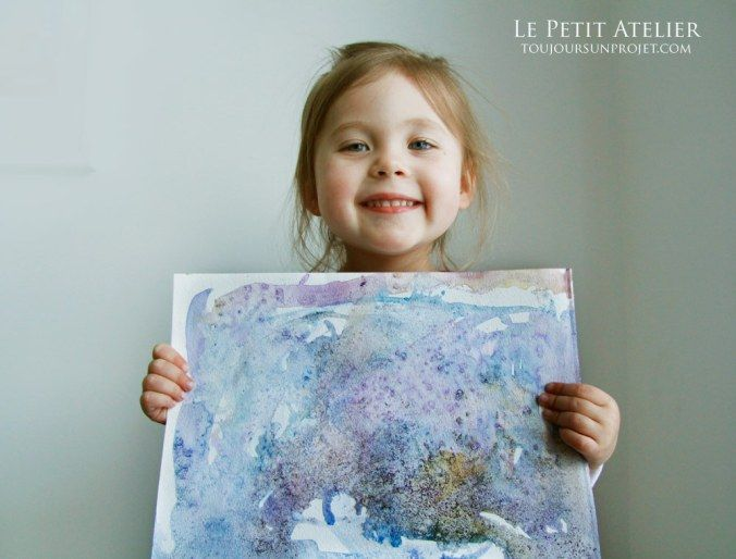 Aquarelle la tempête #Watercolor #salt #glue #artsykids #Frozen #activity
