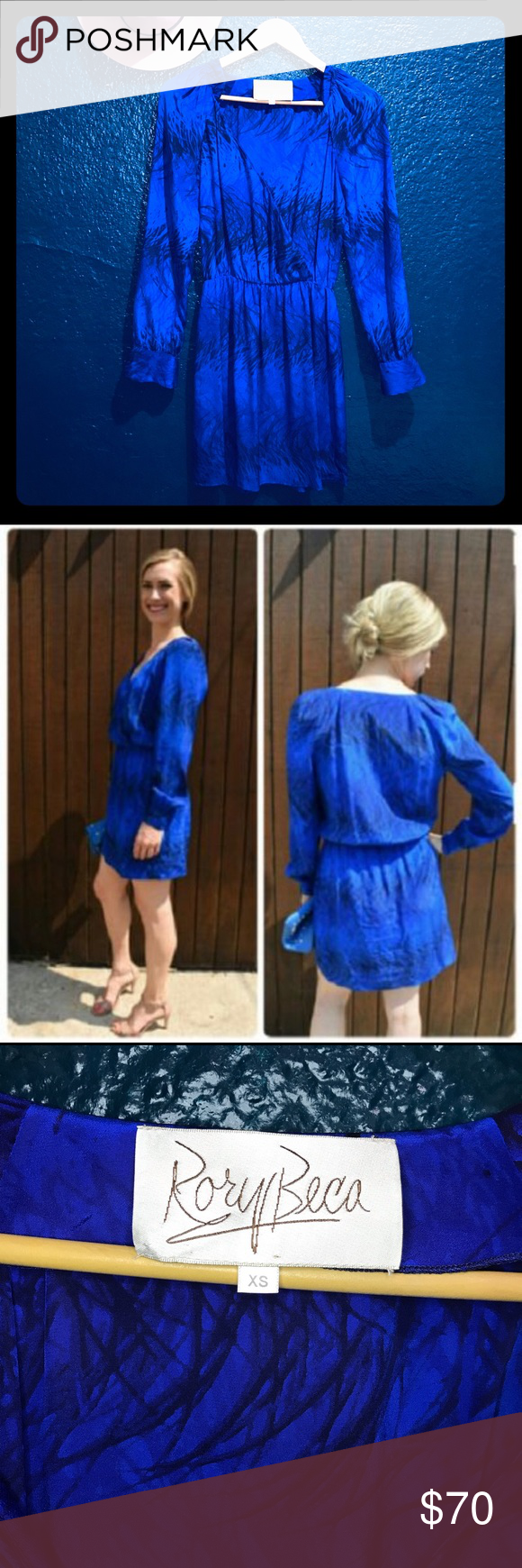 Blue Silk Long Sleeve 'jill' Night Out Dress Lush 100% silk covered in a waving ...