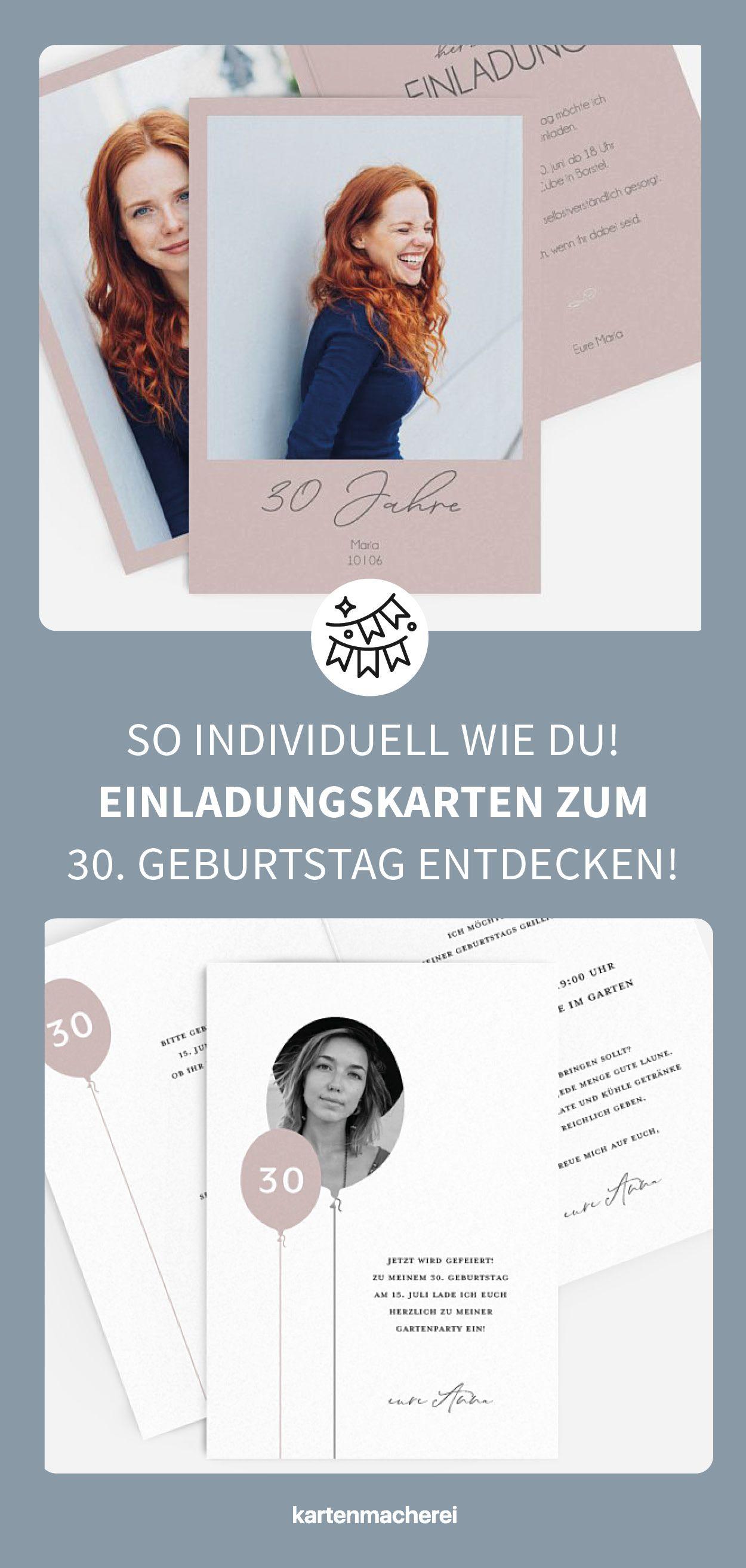 individuelle & moderne einladungskarten für deinen 30