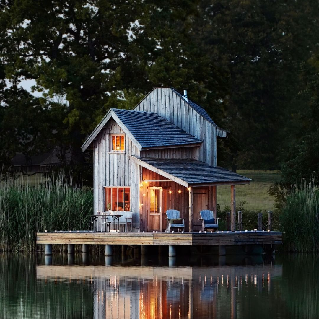Airbnb On Instagram Look Close And Find A Vast World Of Homes To Cool Off This Lakeside Cabin In Le Che In 2020 Shed House Plans Cabins In The Woods Lakeside Cabin