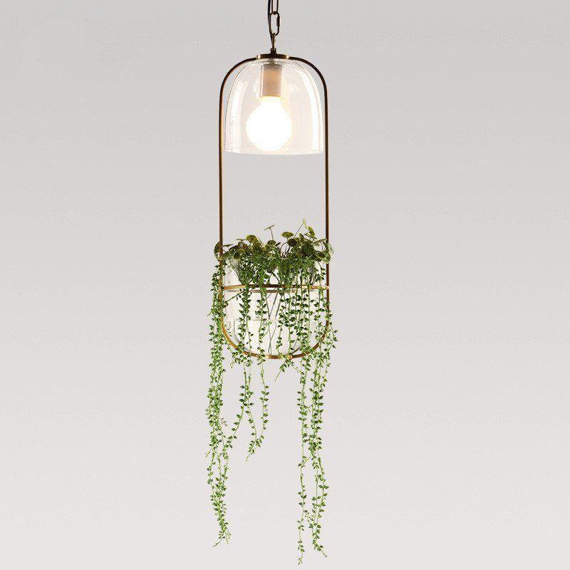 Hanging plant vase pendant light in brass Hanging plant Pendant