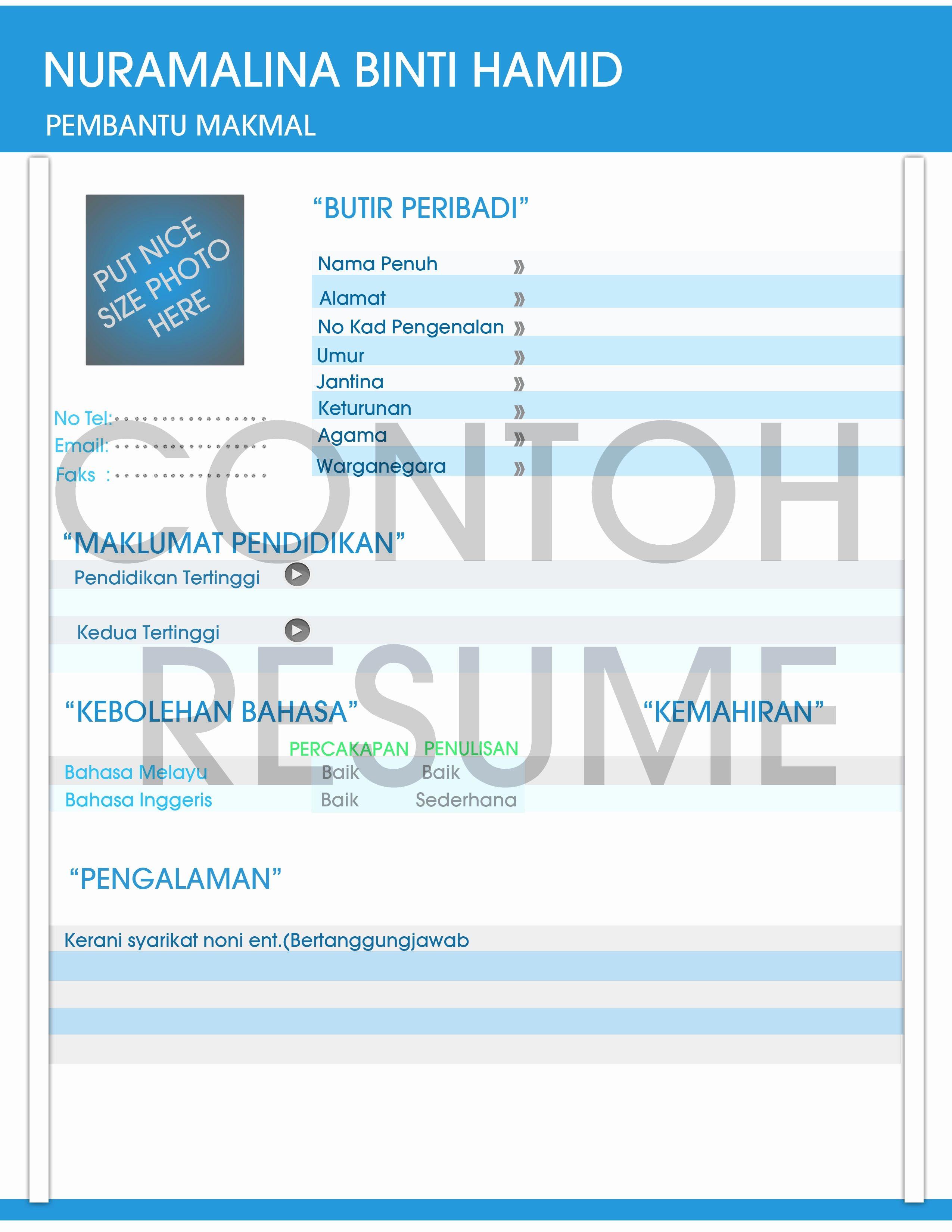 Format Resume Kerja Kerajaan Resume Templates Resume Templates Resume Templates