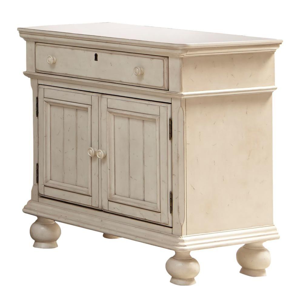 Newport 1 Drawer Antique White Birch Cabinet Nightstand