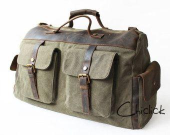rencontrer e7186 1c963 Hommes rétro toile à la main en cuir sac polochon de voyage ...