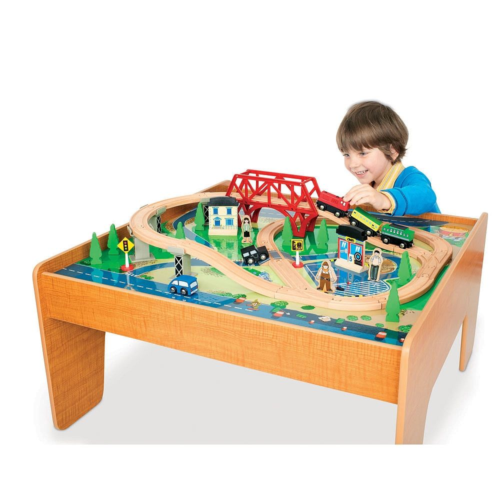 The Imaginarium Train Set With Table   55 Piece Includes 3 Trains, 2  Vehicles