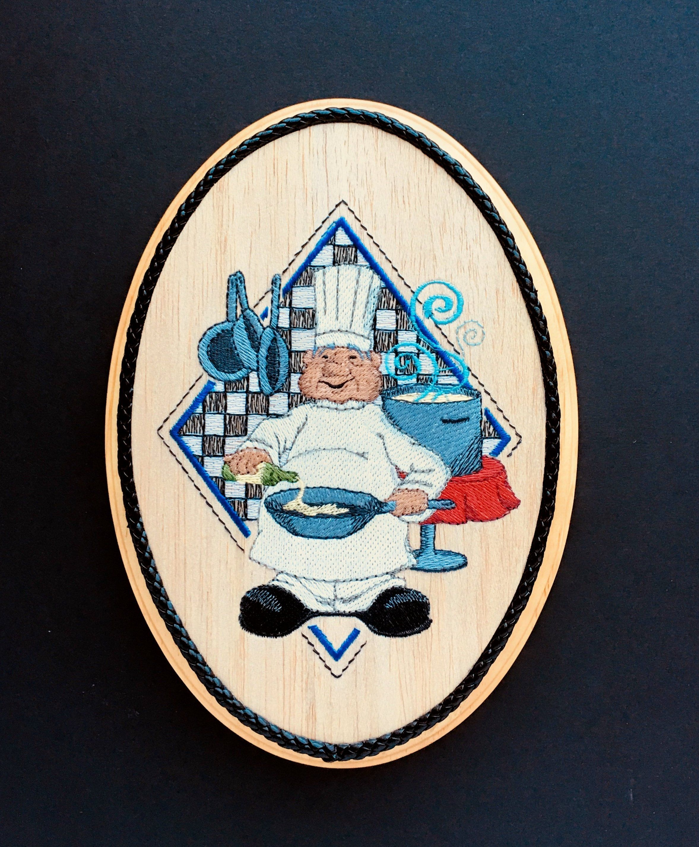 French chef wall art balsa wood embroidery art kitchen chef blue