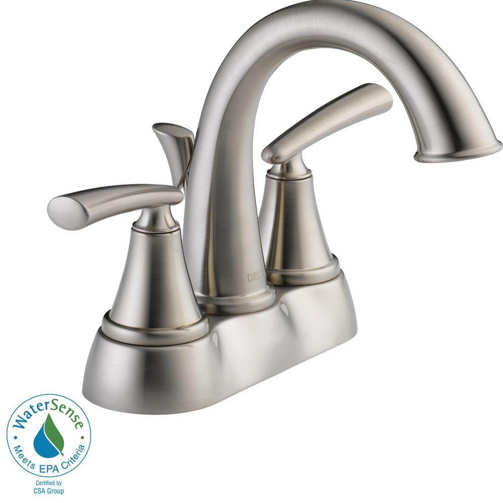 Delta Kennett 4 in. Centerset 2-Handle Bathroom Faucet in Brushed ...