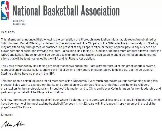 A letter from the NBA commissioner Adam Silver Sports - admiration letter