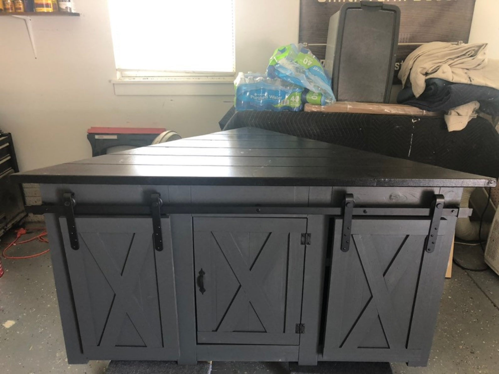 Corner TV STAND / Farmhouse style corner unit with two
