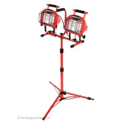 1400 Watt Double Head Halogen Portable Work Shop Stand Light Fixture L-5502