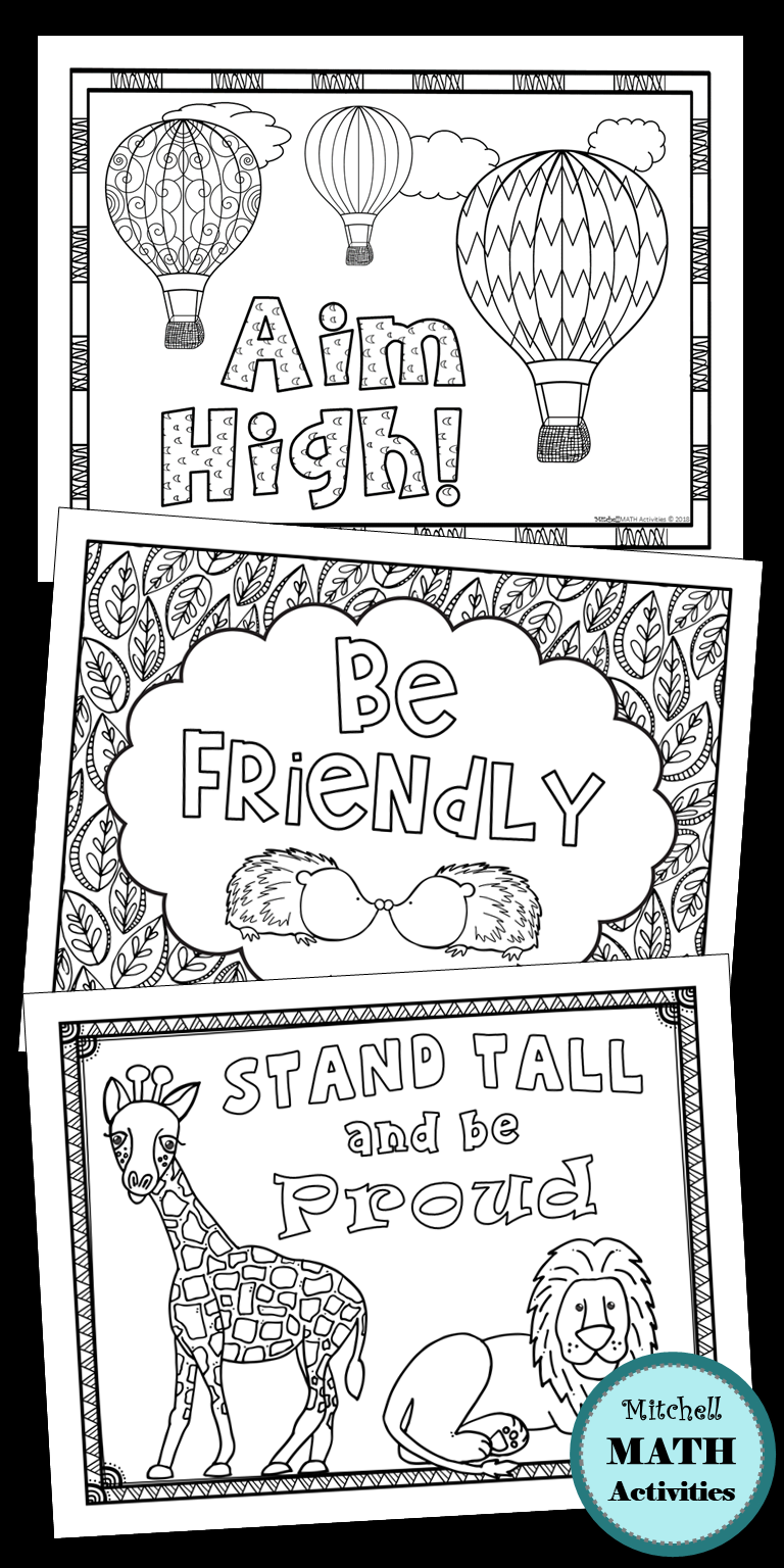 Set Of 10 Motivational Coloring Pages Students Will Enjoy This Fun And Meaningful Activity The Pages Coloring Pages School Coloring Pages Learning Printables