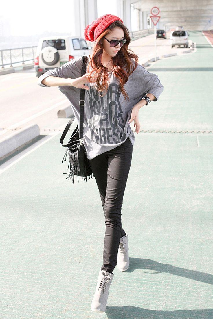 Black Long Sleeves Fall/Winter Collection Korean Fashion ...