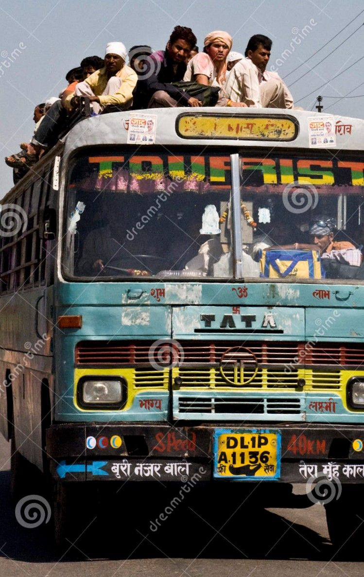 People Riding On Top Of Bus Near Delhi India India Photo Bus