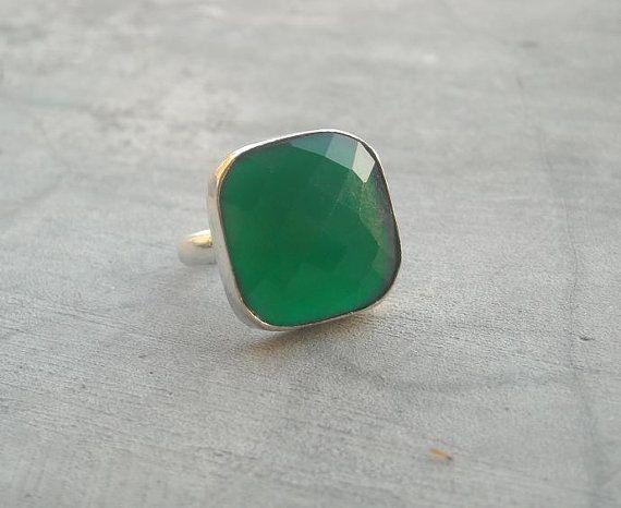 Emerald green ring  Gemstone ring  Sterling silver by Studio1980, $65.00