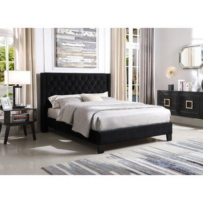 Black Upholstered Queen Size Platform Bed Frame with Headboard Panel Bed Bedroom