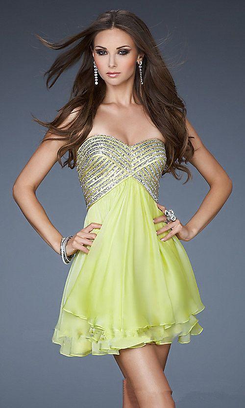 yellow short sequins prom dress