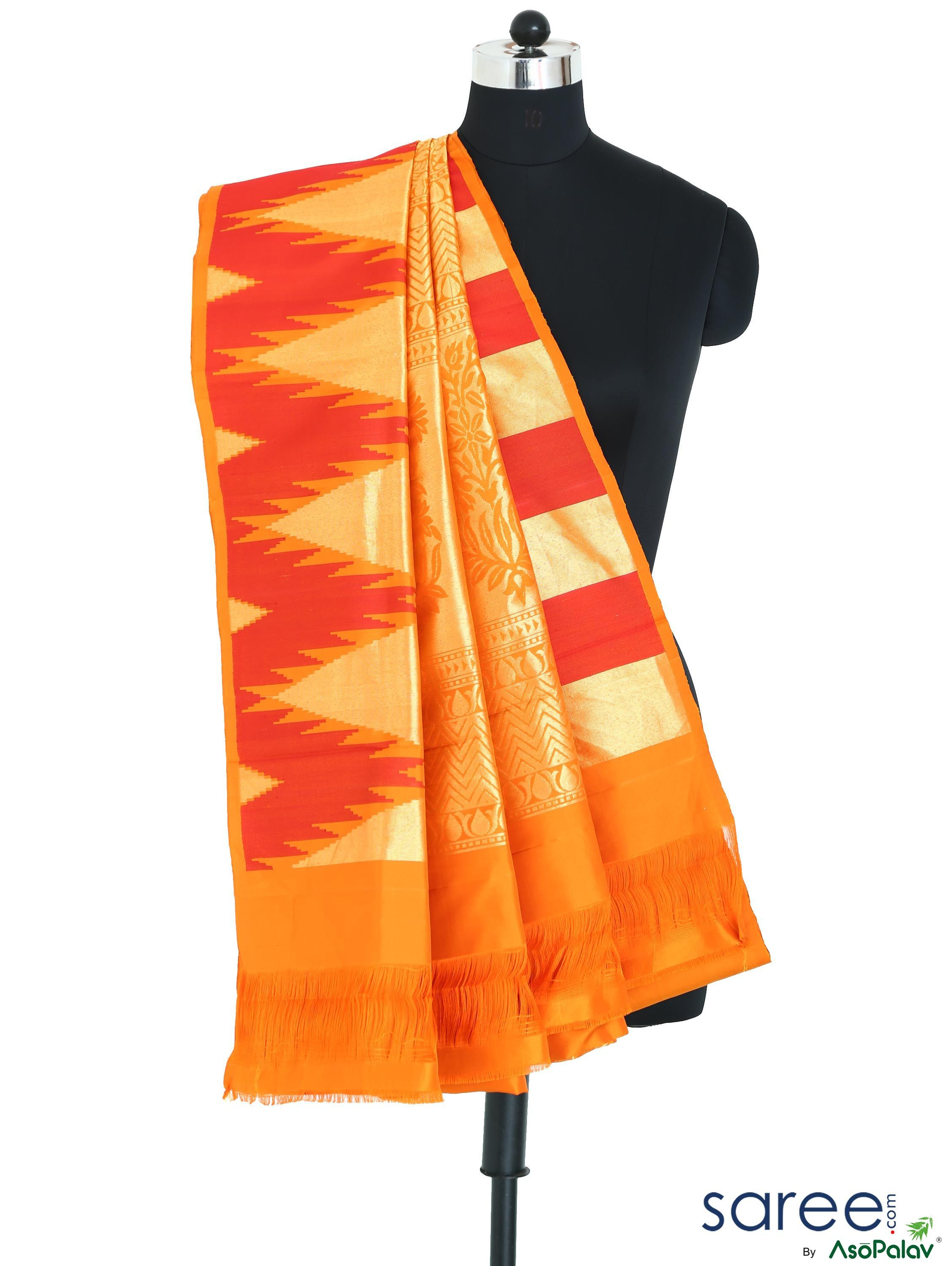 YELLOW AND RED SOUTH SILK SAREE WITH WEAVING WORK