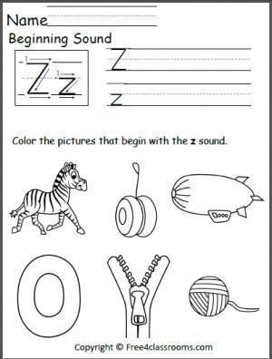 free beginning z sound worksheet teacher ideas preschool letters beginning sounds. Black Bedroom Furniture Sets. Home Design Ideas