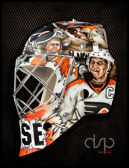 Steve Mason S New Zombie Mask 01 24 2014 Goalie Mask Hockey Goalie Goalie Gear
