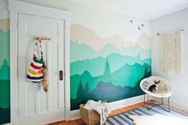 dessin montagne stylise en couleur pour
